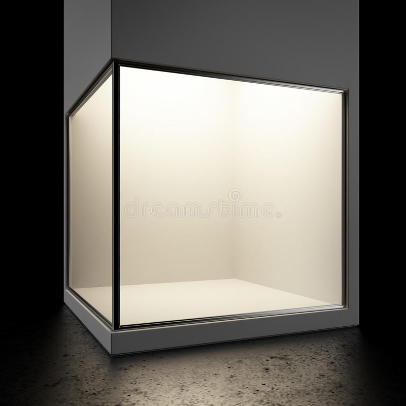 Mostra de vidro vazia