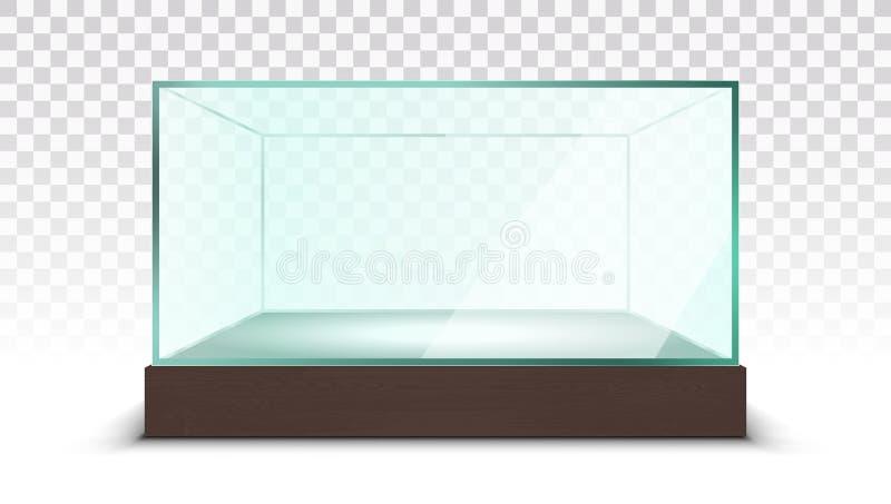 Mostra de vidro vazia transparente da caixa ilustração do vetor
