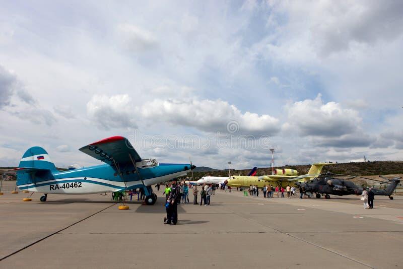 Mostra degli aerei su Gidroaviasalon 2016, Russia fotografia stock