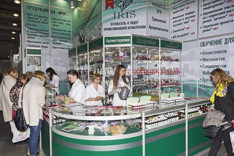 Mostra dell'internazionale di Intercharm XVI dei cosmetici e delle attrezzature professionali per i saloni di bellezza immagine stock libera da diritti