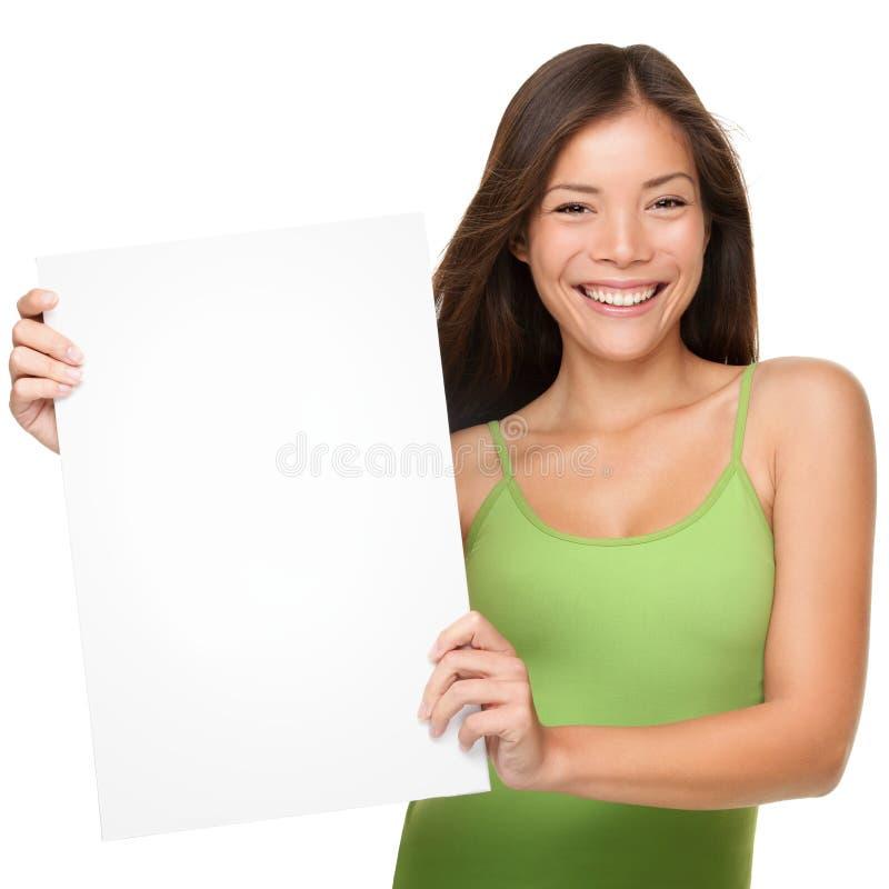 Mostra della donna del segno fotografia stock