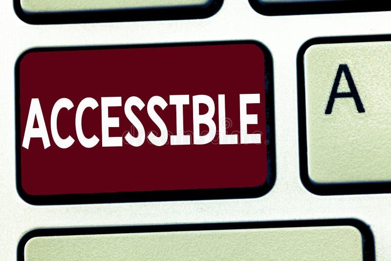 Mostra della nota di scrittura accessibile Montrare della foto di affari capace di essere raggiunto o ha entrato nell'accesso fac fotografie stock