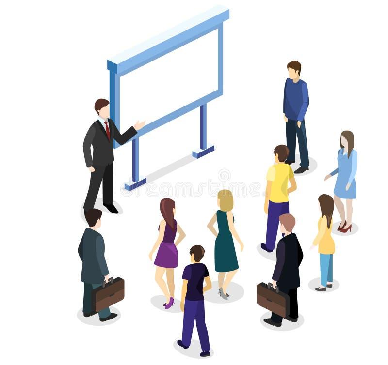 Mostra di vettore di concetto 3D o supporto piana isometrica di promozione Cabina della fiera commerciale royalty illustrazione gratis