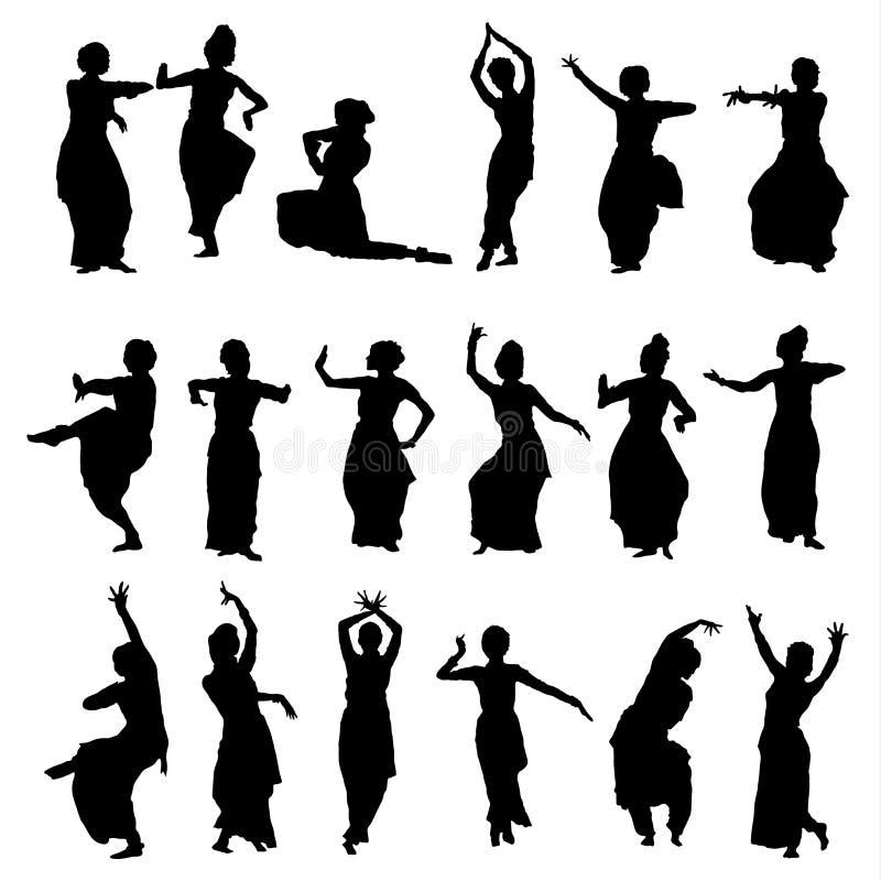 Mostra em silhueta dançarinos indianos ilustração stock