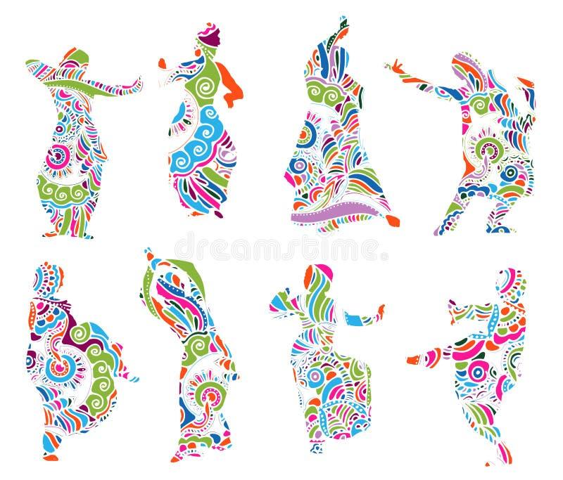 Mostra em silhueta dançarinos indianos no estilo do mehndi ilustração royalty free