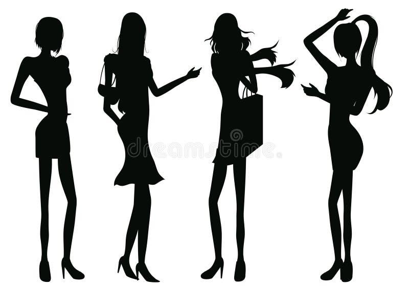 Mostra em silhueta meninas ilustração stock