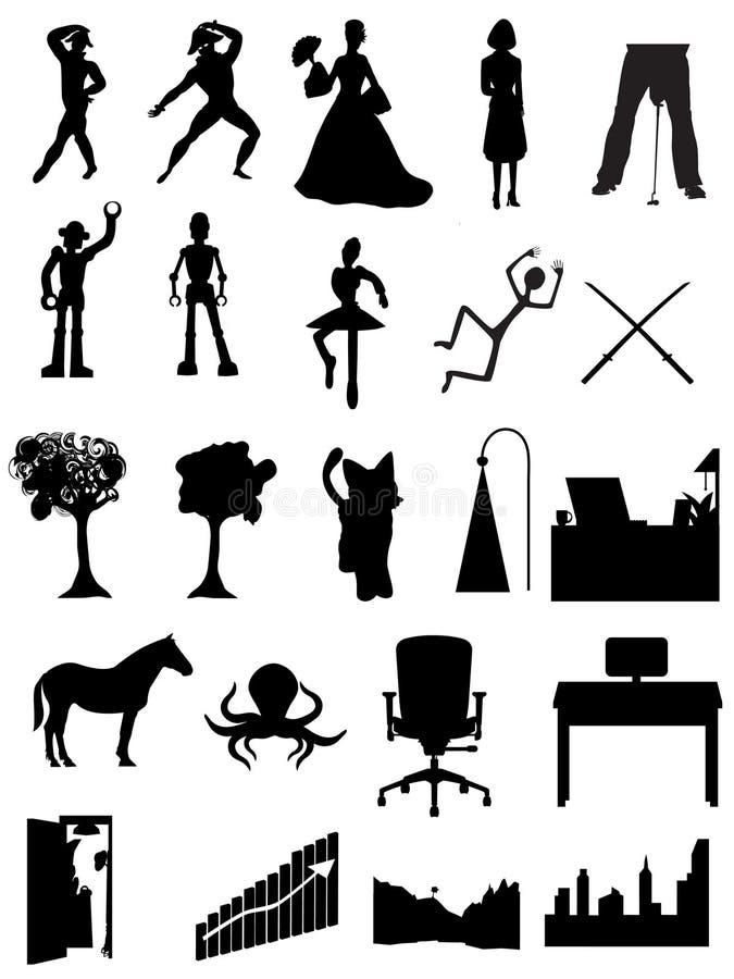 Mostra em silhueta povos, robôs, escritórios, cenas ilustração stock