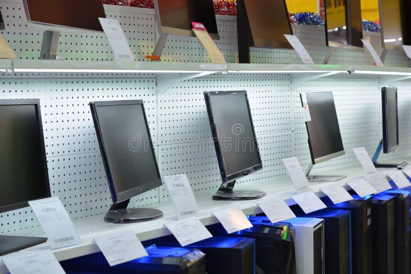 Mostra em uma loja de informática imagens de stock