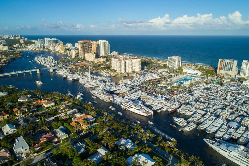 Mostra internacional do barco do Fort Lauderdale da imagem do zangão imagem de stock