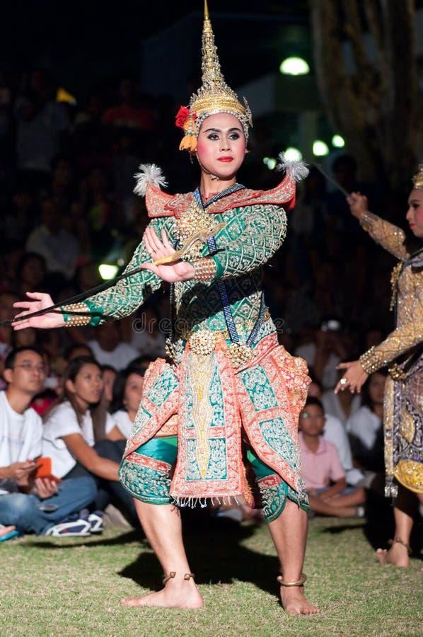 Mostra Khon-Tailandesa da dança do drama da cultura imagens de stock