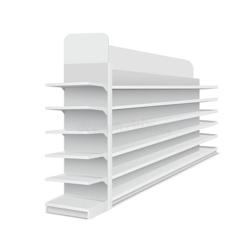 Mostra longa vazia branca com as prateleiras para produtos no fundo branco Cremalheira para supermercados, shopping ilustração stock