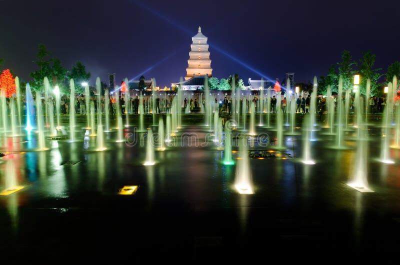 Mostra musical da fonte em Xian fotografia de stock royalty free