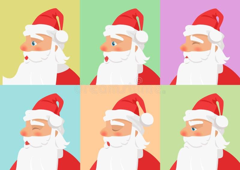 Mostrado determinado de diversas emociones de Santa Claus ilustración del vector