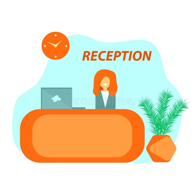 Mostrador de recepción anaranjado en hotel stock de ilustración