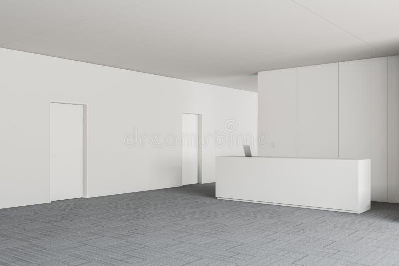 Mostrador de recepción en el pasillo blanco de la oficina libre illustration