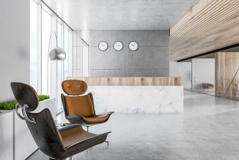 Mostrador de recepción de mármol en oficina gris ilustración del vector