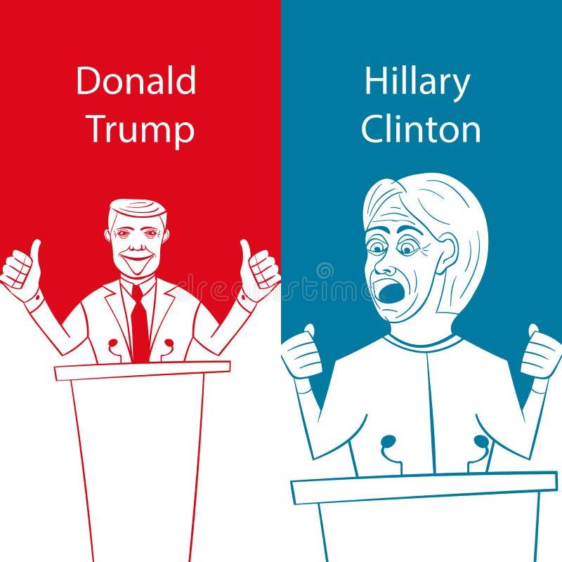 Mostrando Donald Trump republicano contra a cara-fora de Democrata Hillary Clinton para o presidente americano com eleição 2016 d ilustração royalty free
