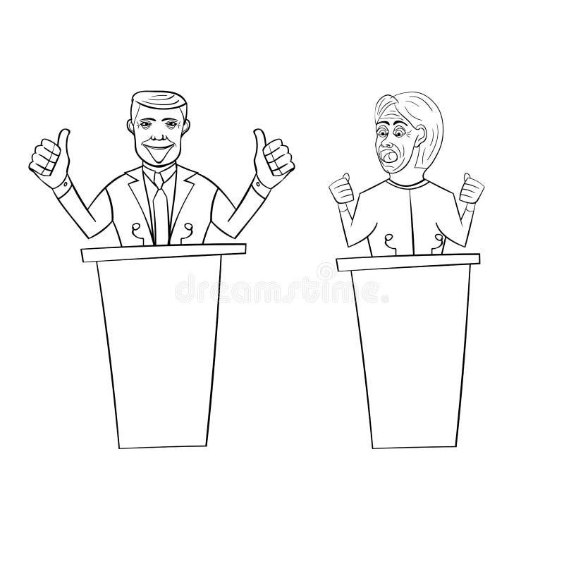 Mostrando Donald Trump republicano contra Democrata Hillary Clinton para o presidente americano ilustração royalty free