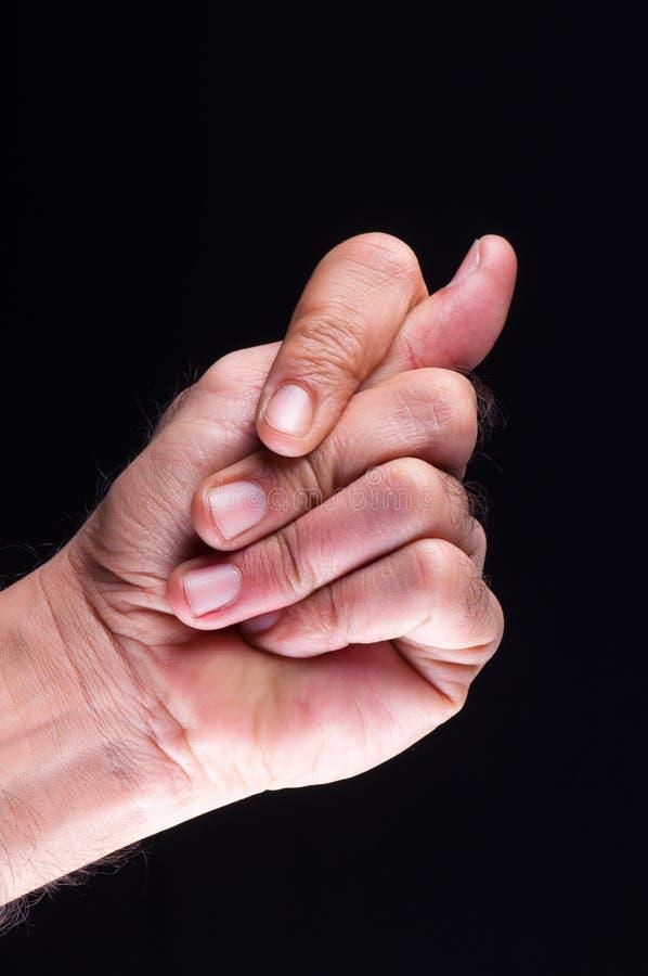 Mostrando gesticular (rude) negativo da mão foto de stock royalty free