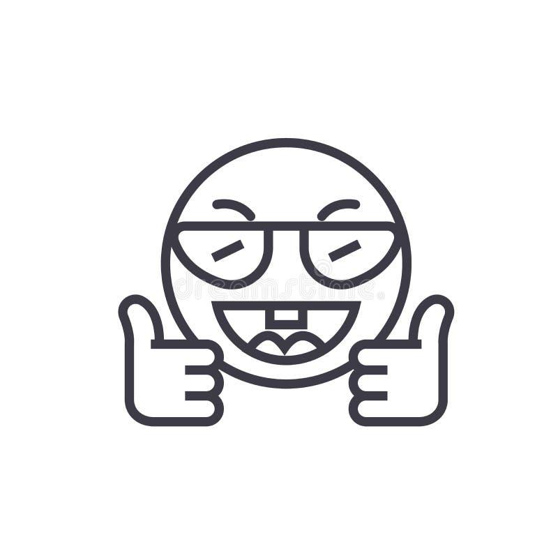 Mostrando a linea di concetto di Emoji di approvazione vettore editabile, icona di concetto Mostrando a concetto di Emoji di appr illustrazione di stock