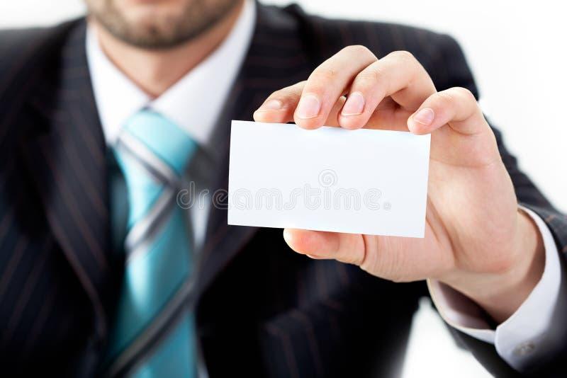 Mostrando o cartão em branco imagens de stock