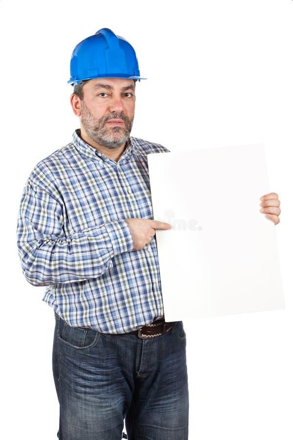 Mostrando um cartão em branco imagem de stock royalty free