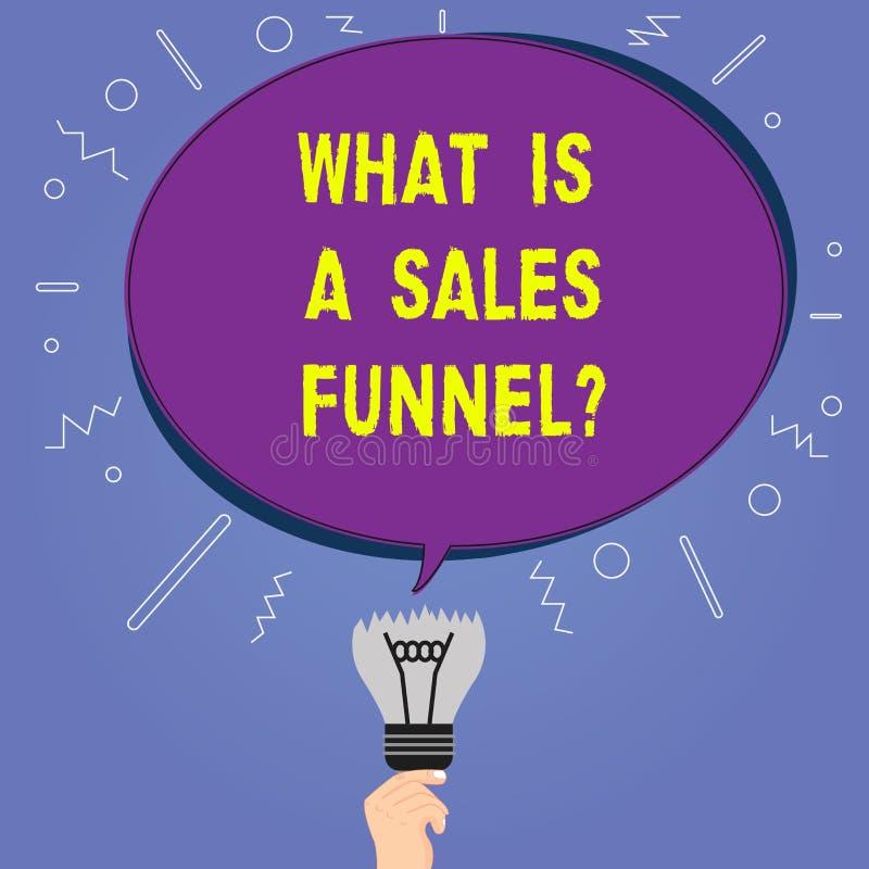 Mostrar conceptual da escrita da mão o que é vendas Funnelquestion Apresentar da foto do negócio explica um mercado ilustração stock