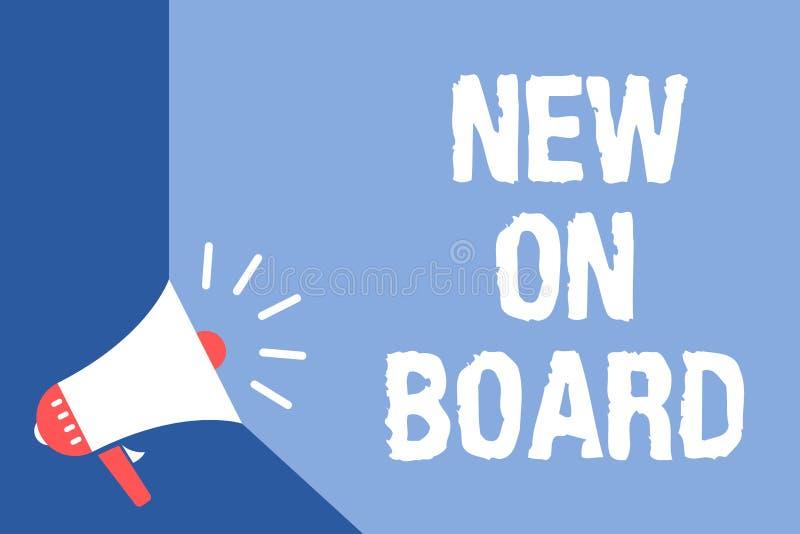Mostrar da nota da escrita novo a bordo A boa vinda apresentando da foto do negócio à colaboração da adaptação da equipe alguém c ilustração royalty free
