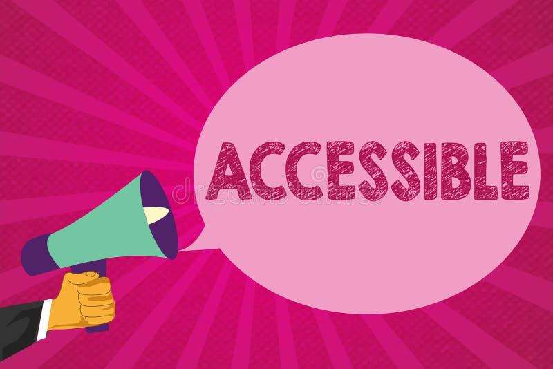 Mostrar do sinal do texto acessível Foto conceptual capaz de ser alcançado ou acesso fácil descontraído amigável incorporado ilustração do vetor
