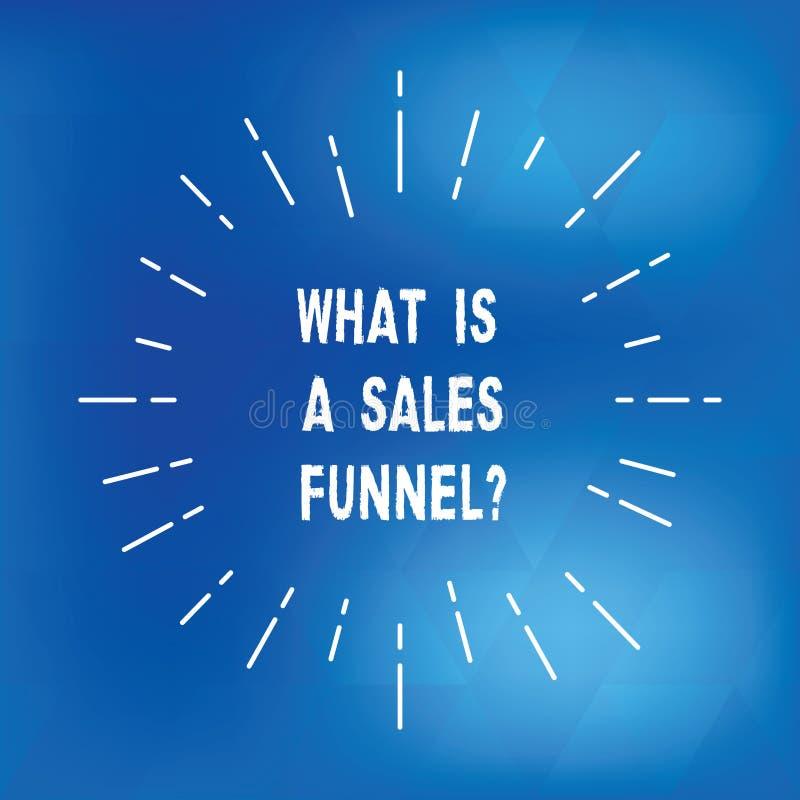 Mostrar do sinal do texto o que é vendas Funnelquestion A foto conceptual explica um feixe fino de anúncio de mercado do método ilustração royalty free