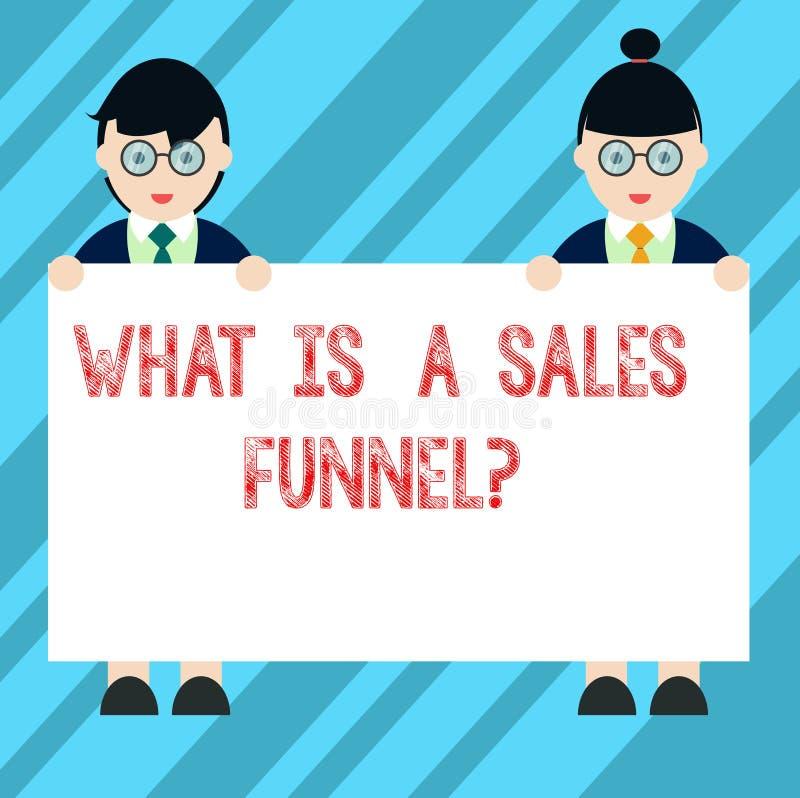 Mostrar do sinal do texto o que é vendas Funnelquestion A foto conceptual explica um homem de anúncio de mercado do método e ilustração do vetor