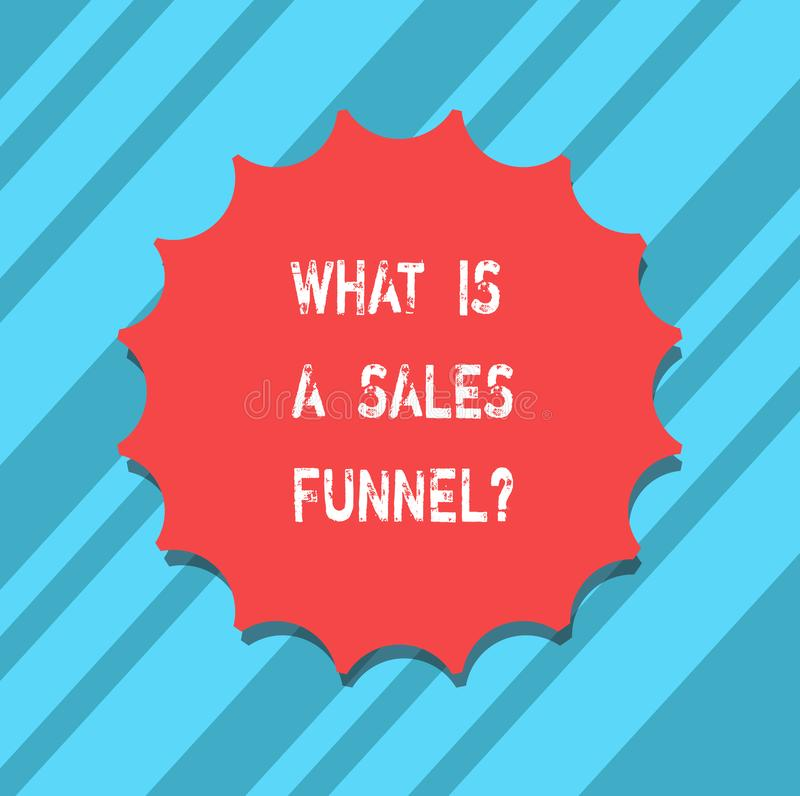 Mostrar do sinal do texto o que é vendas Funnelquestion A foto conceptual explica um selo de anúncio de mercado da placa do métod ilustração stock