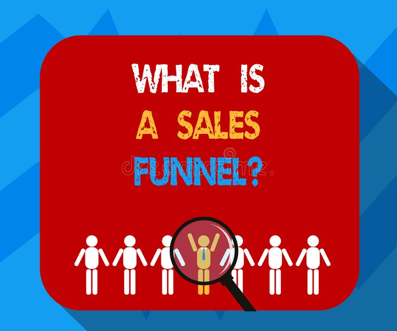 Mostrar do sinal do texto o que é vendas Funnelquestion A foto conceptual explica uma ampliação de anúncio de mercado do método ilustração stock