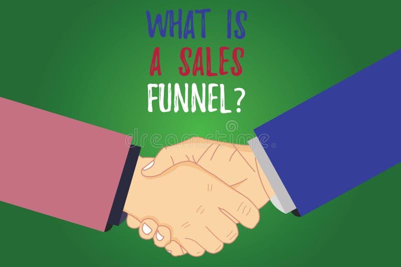 Mostrar do sinal do texto o que é vendas Funnelquestion A foto conceptual explica uma análise de anúncio de mercado de Hu do méto ilustração stock