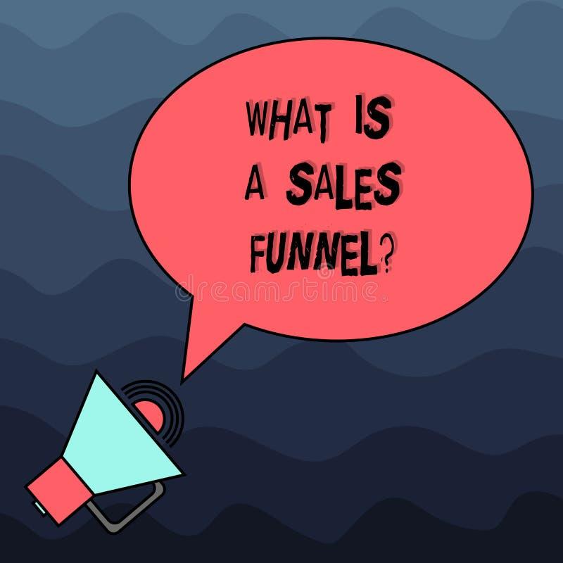 Mostrar do sinal do texto o que é vendas Funnelquestion A foto conceptual explica uma placa de anúncio de mercado do método oval ilustração do vetor