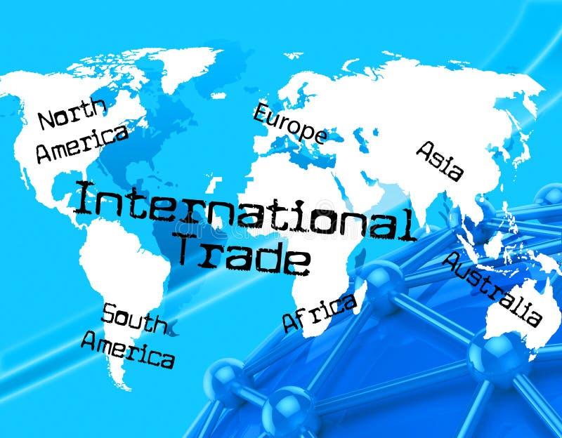 Mostras de comércio do International através de The Globe e do mundo ilustração stock