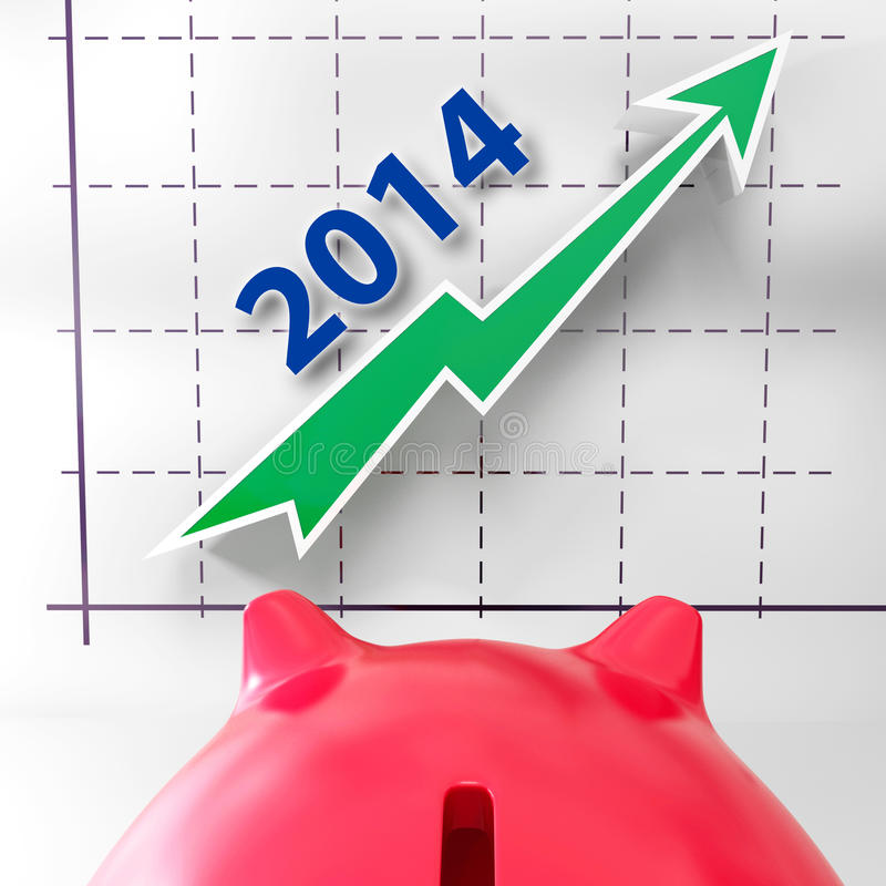 Mostras do gráfico 2014 que crescem a renda e os lucros ilustração royalty free