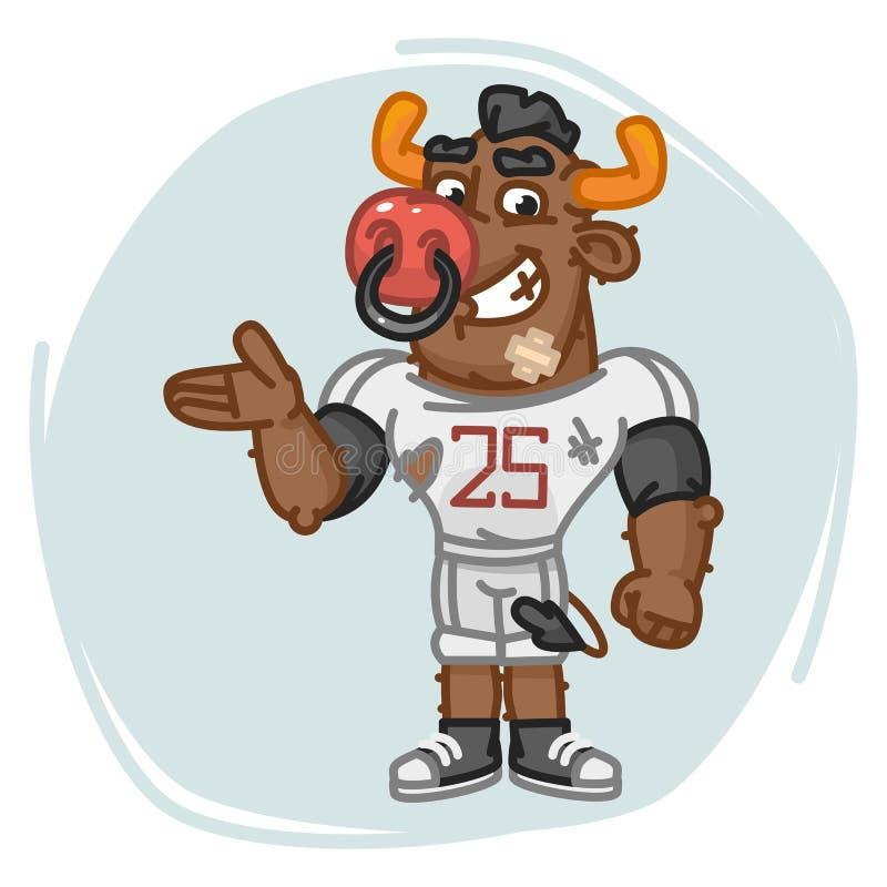 Mostras do jogador de futebol de Bull ilustração royalty free