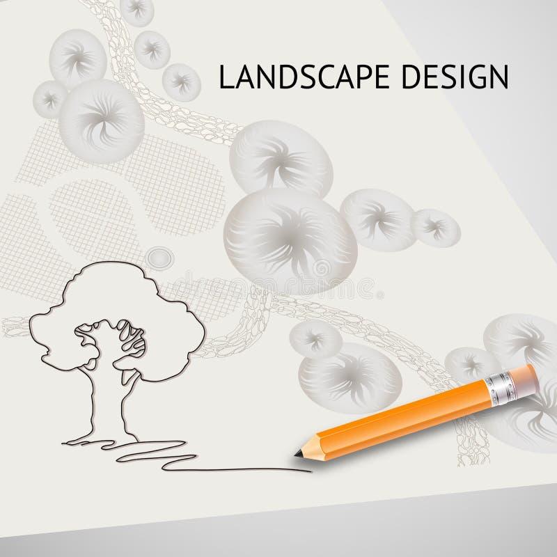 Mostre em silhueta a árvore, plano do jardim, lápis e as palavras ajardinam o projeto ilustração do vetor
