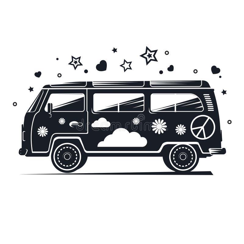 Mostre em silhueta a camionete da hippie, camionete retro preta com artigos diferentes ilustração do vetor