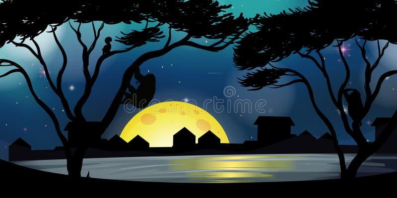 Mostre em silhueta a cena com construções e lago na noite ilustração do vetor