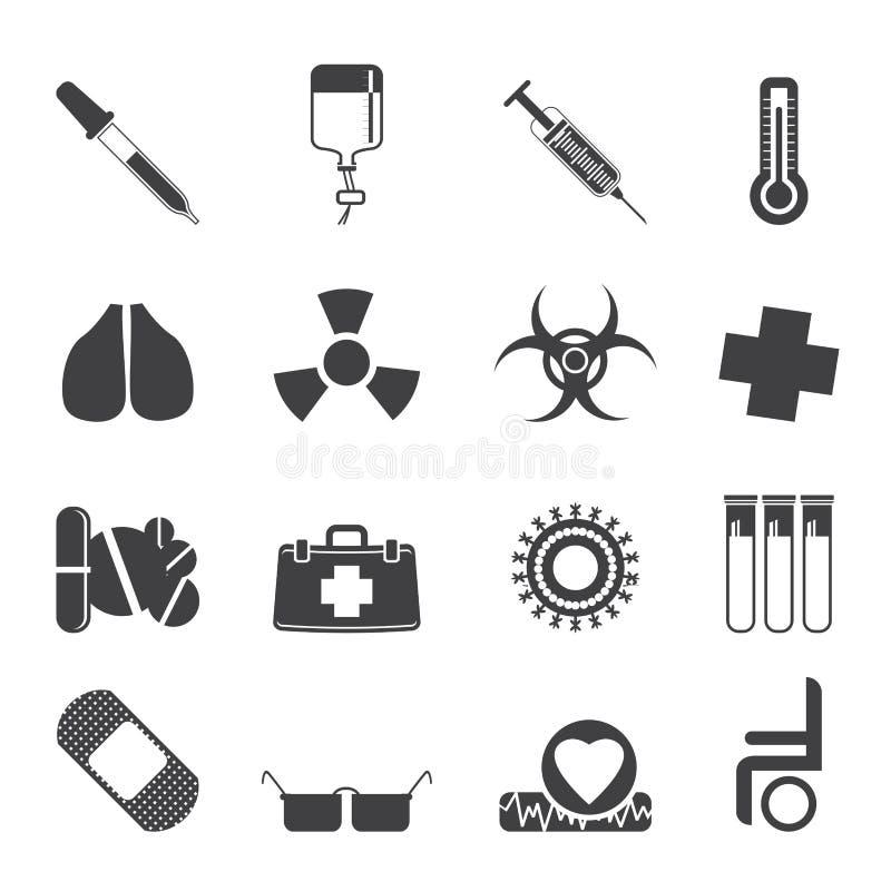 Mostre em silhueta a coleção de ícones e de sinais de aviso temáticos médicos ilustração do vetor