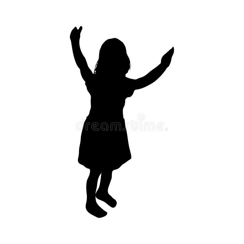 Mostre em silhueta a criança, infante uma posição da menina, vetor Ícone da menina ilustração do vetor