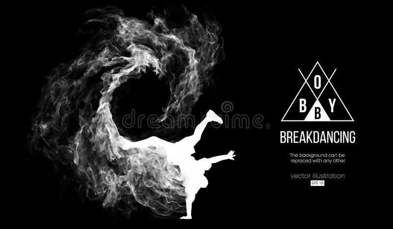 Mostre em silhueta de um breakdancer, homem, quebra do disjuntor