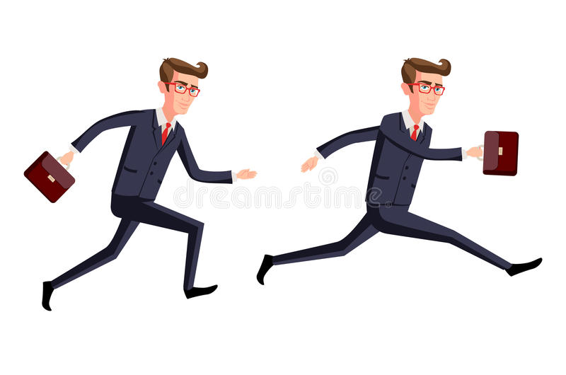 Mostre em silhueta a ilustração de um homem de negócios que corre com pasta, negócio, arte energética, dinâmica do conceito ilustração do vetor