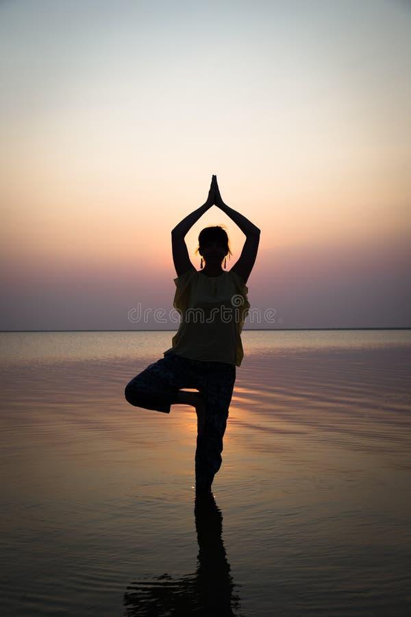 Mostre em silhueta a menina da meditação no fundo do mar impressionante imagens de stock