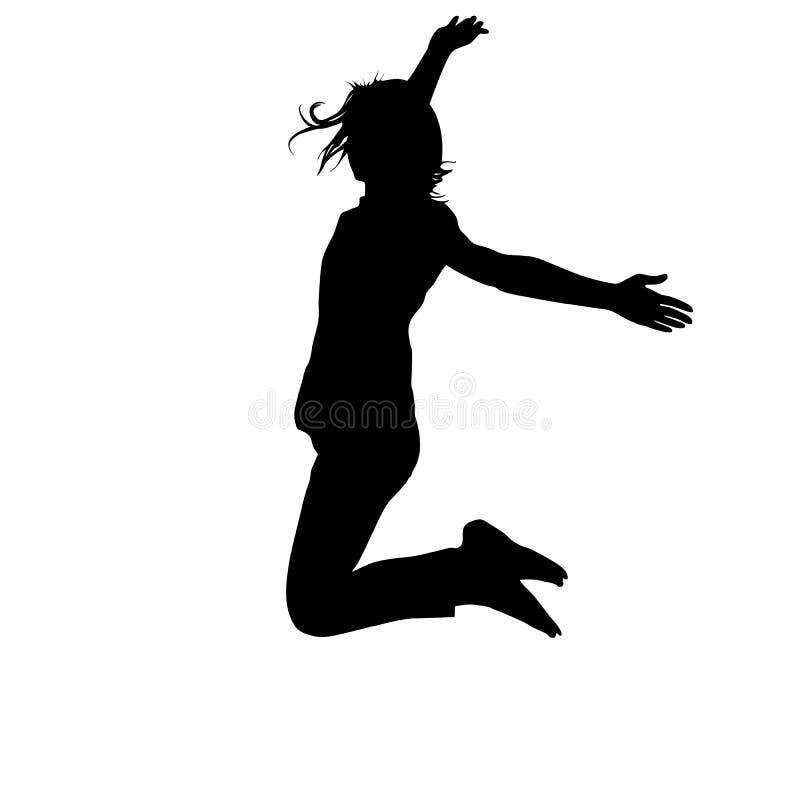 Mostre em silhueta a moça que salta com mãos acima, movimento Ilustração do vetor ilustração stock