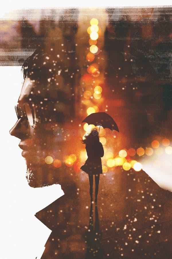 Mostre em silhueta a mulher com o guarda-chuva na cidade da noite contra uma cabeça do homem ilustração royalty free
