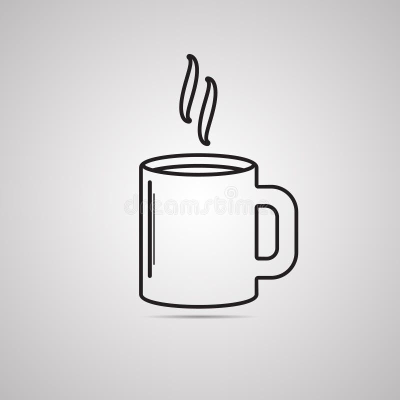 Mostre em silhueta o ícone liso, projeto simples do vetor com sombra Copo de café com vapor ilustração royalty free