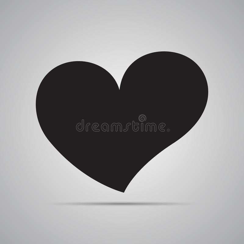 Mostre em silhueta o ícone liso, projeto simples do vetor com sombra Coração curvado assimétrico preto ilustração stock